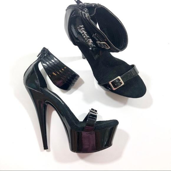 c1fc15dc0ce Black Stripper Ankle Strap Heels